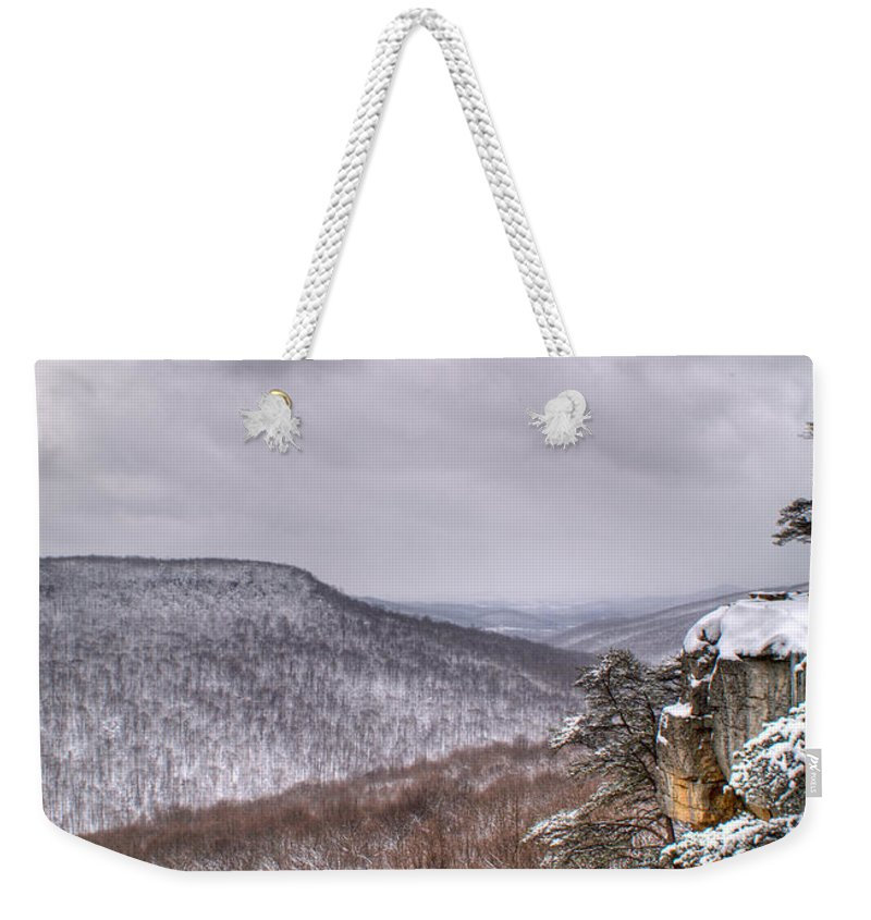 Snow Weekender Tote Bag featuring the photograph Snow Remoteness by Douglas Barnett