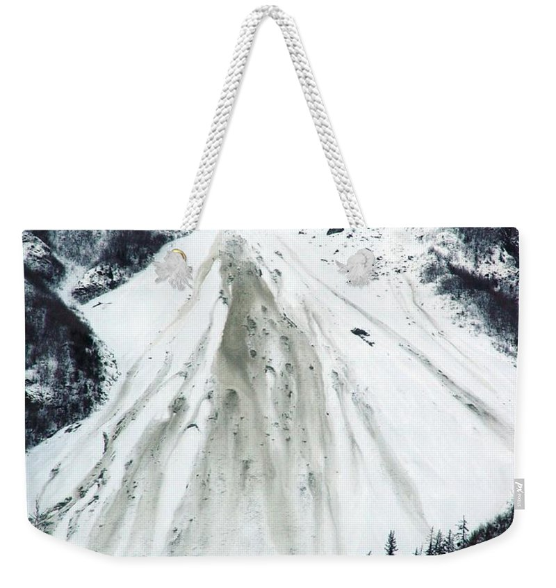 Landscape Weekender Tote Bag featuring the photograph Snow Then Land Slide by Ron Bissett