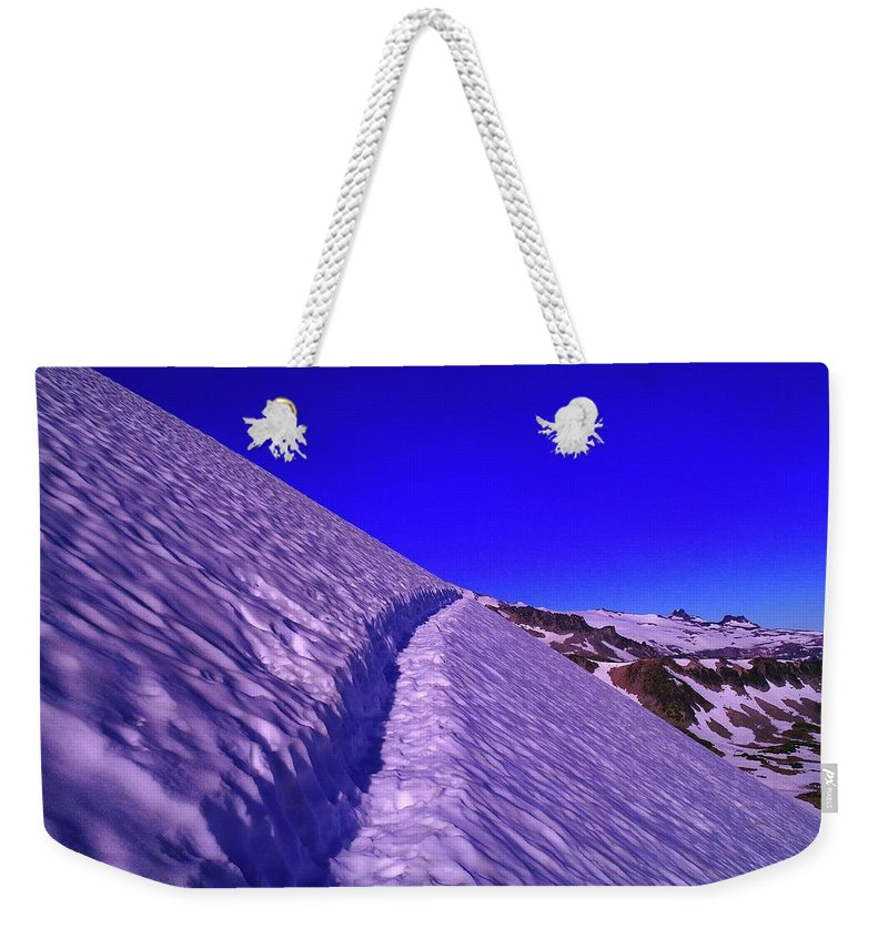 Sunrise Weekender Tote Bag featuring the photograph Snow Trail by Jeff Swan
