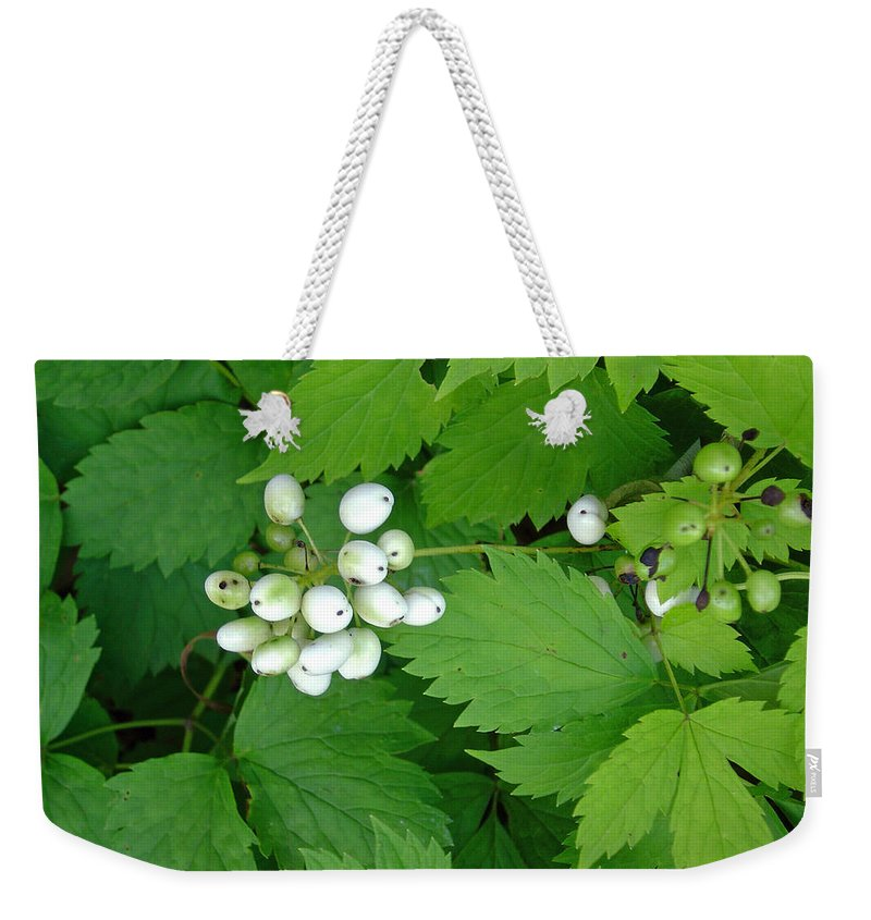 Snow White Bush Of Berries Weekender Tote Bag featuring the photograph Snow White Berries by Joanne Smoley