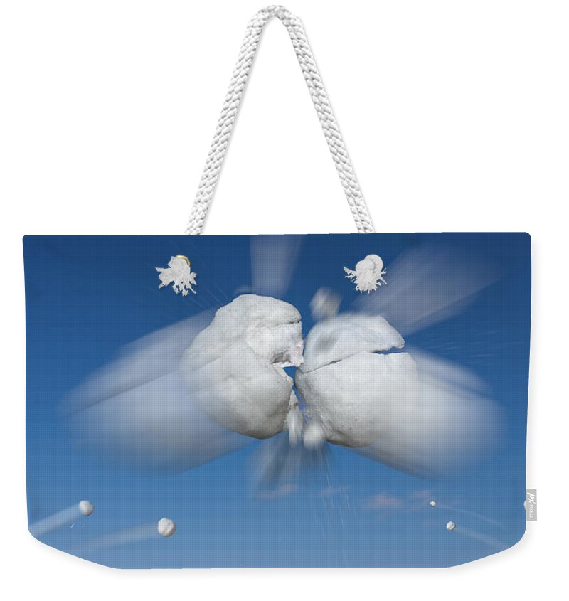 Aerial Weekender Tote Bag featuring the photograph Snowball Flight by Steve Gadomski