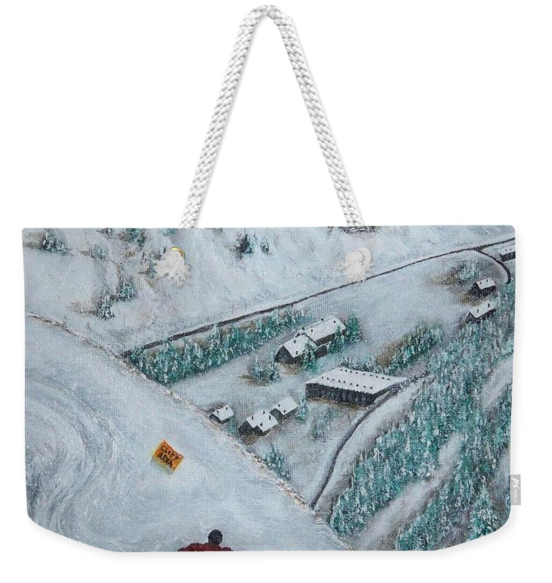 Ski Weekender Tote Bag featuring the painting Snowbird Steeps by Michael Cuozzo