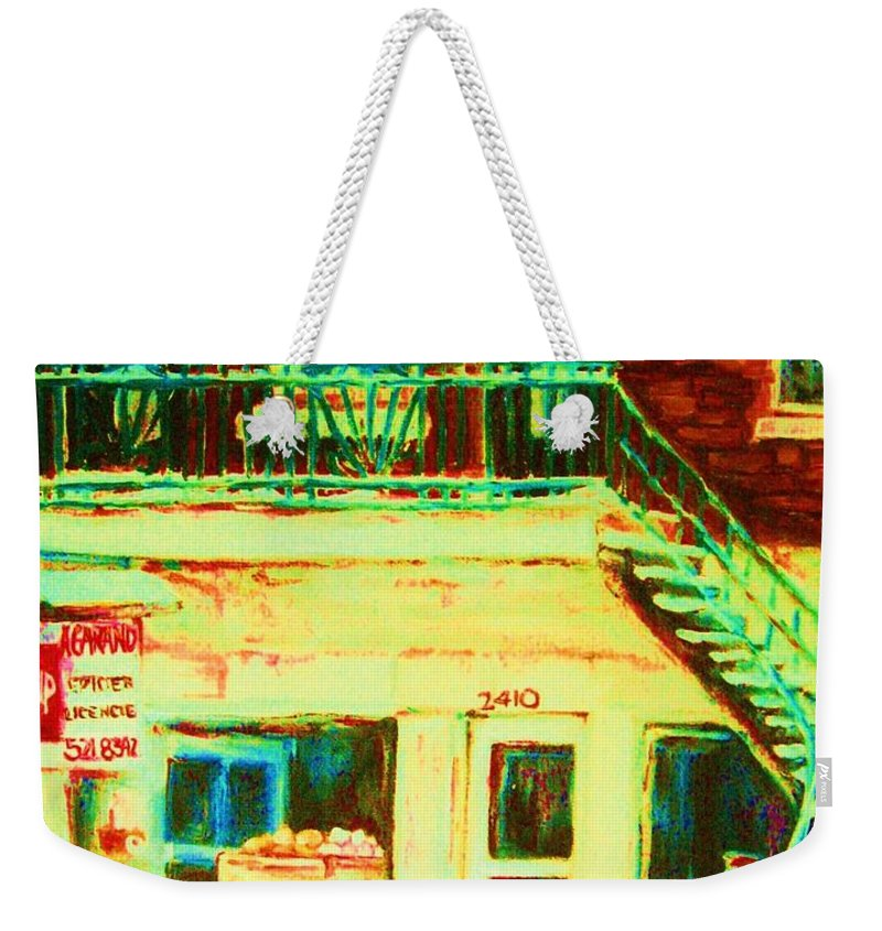 Staircases Weekender Tote Bag featuring the painting Snowcovered Steps by Carole Spandau