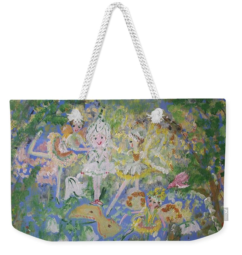 Snowdrop Weekender Tote Bag featuring the painting Snowdrop The Fairy And Friends by Judith Desrosiers