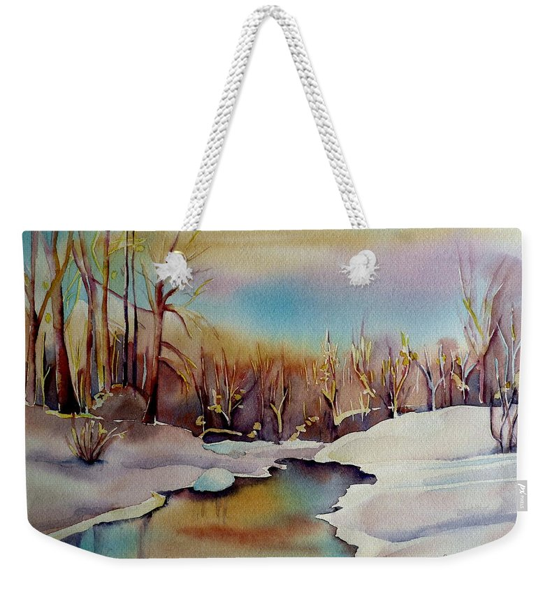Winterscene Weekender Tote Bag featuring the painting Snowfall by Carole Spandau