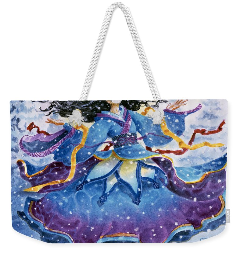 Snow Weekender Tote Bag featuring the painting Snowfall by Melissa A Benson