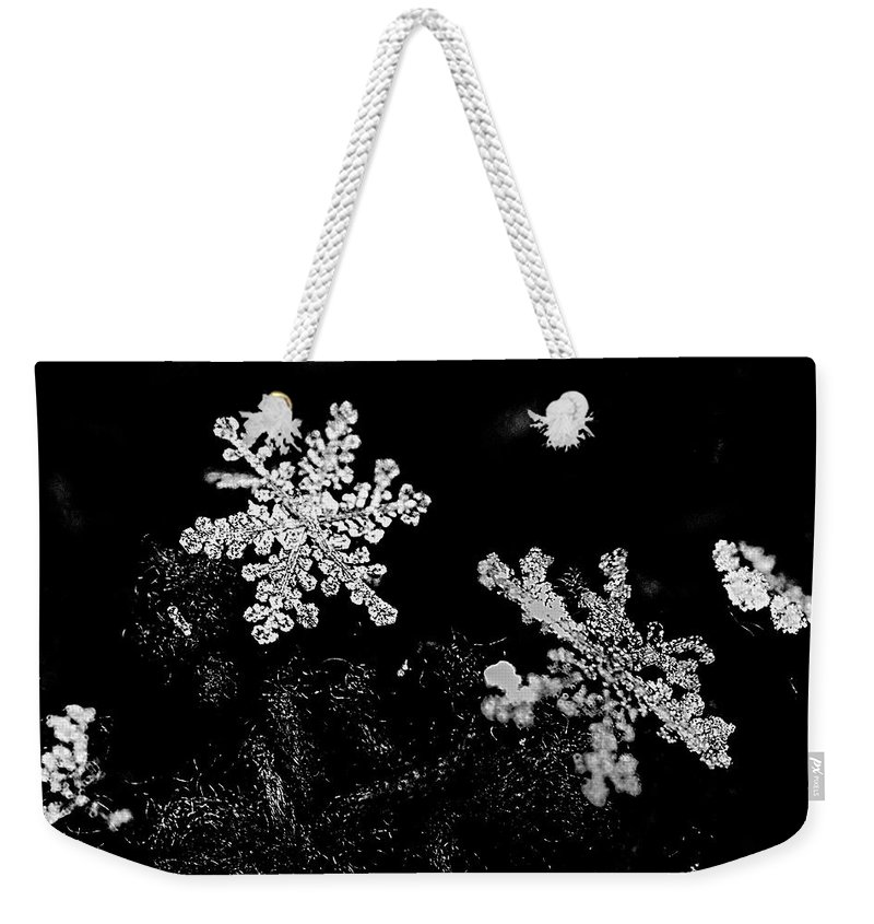 Black And White Weekender Tote Bag featuring the photograph Snowflake Beauty by Shelly Gunderson