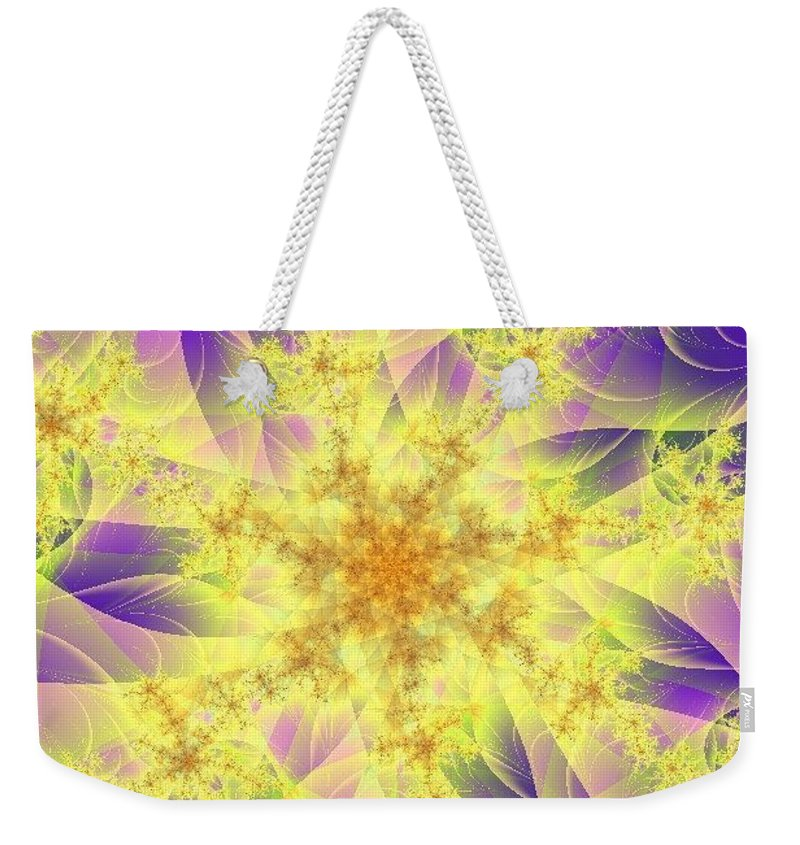 Digital Art Weekender Tote Bag featuring the digital art Snowflake by Dragica Micki Fortuna