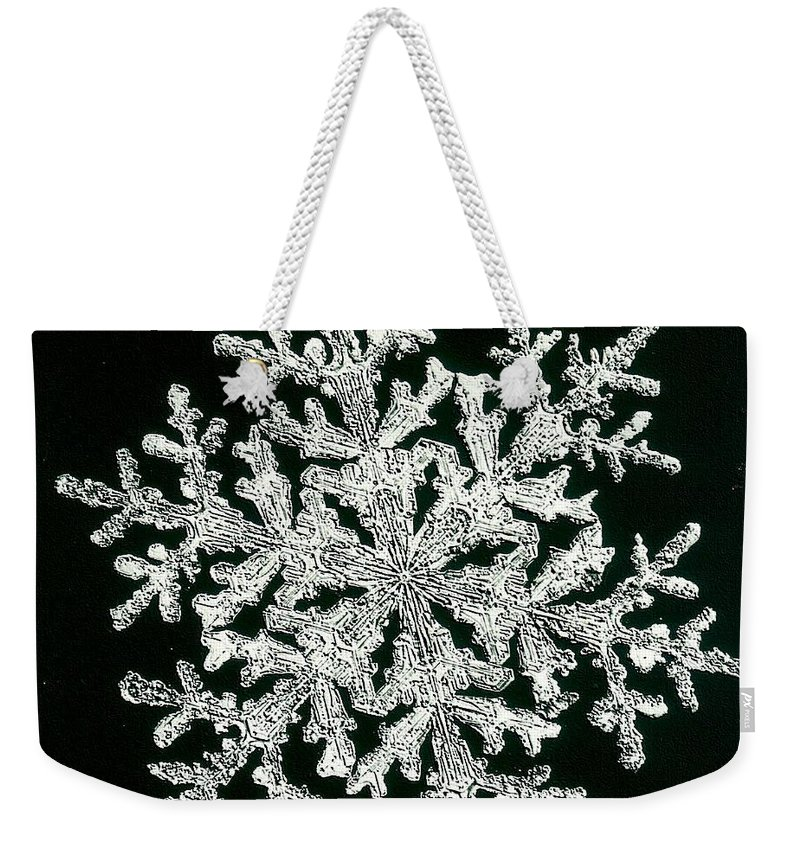 Snowflake Weekender Tote Bag featuring the photograph snowflake I by Dragica Micki Fortuna