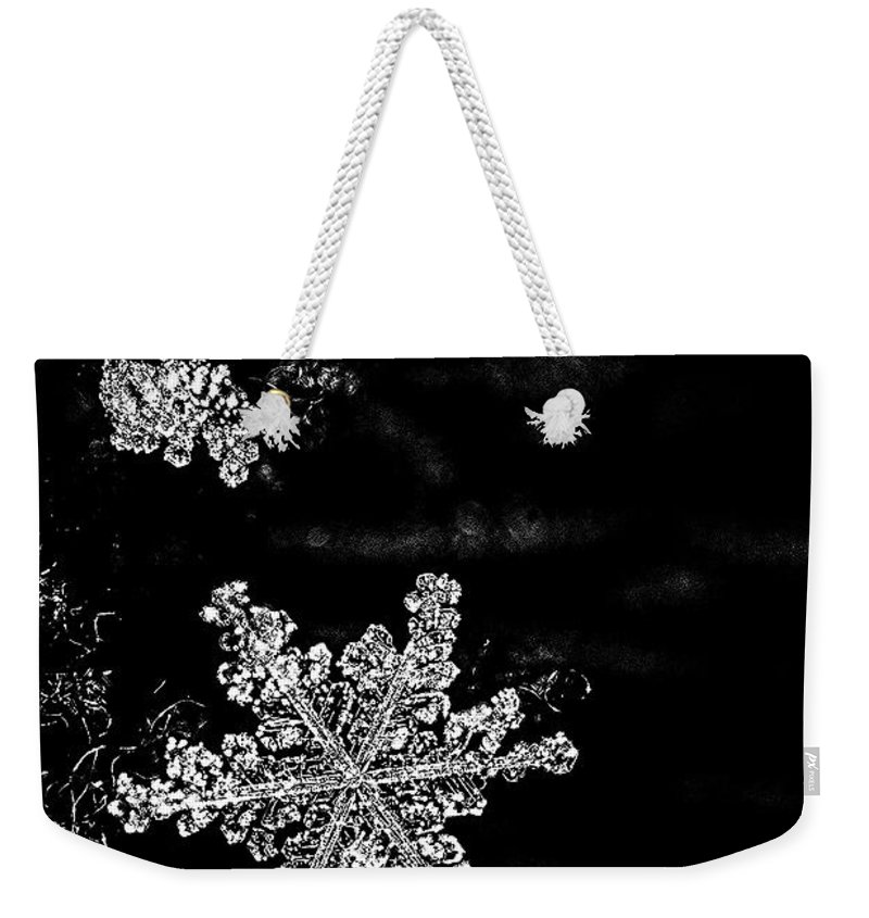 Black And White Weekender Tote Bag featuring the photograph Snowflake Jewels by Shelly Gunderson