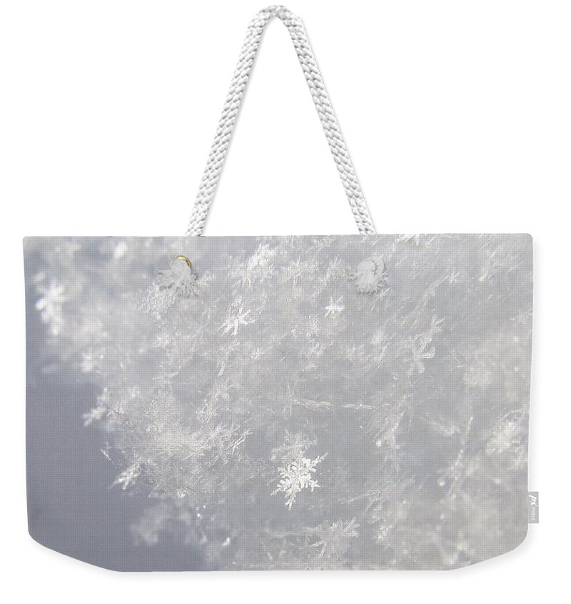 Intricate Weekender Tote Bag featuring the photograph Snowflakes From Heaven 1 by LeAnne Perry
