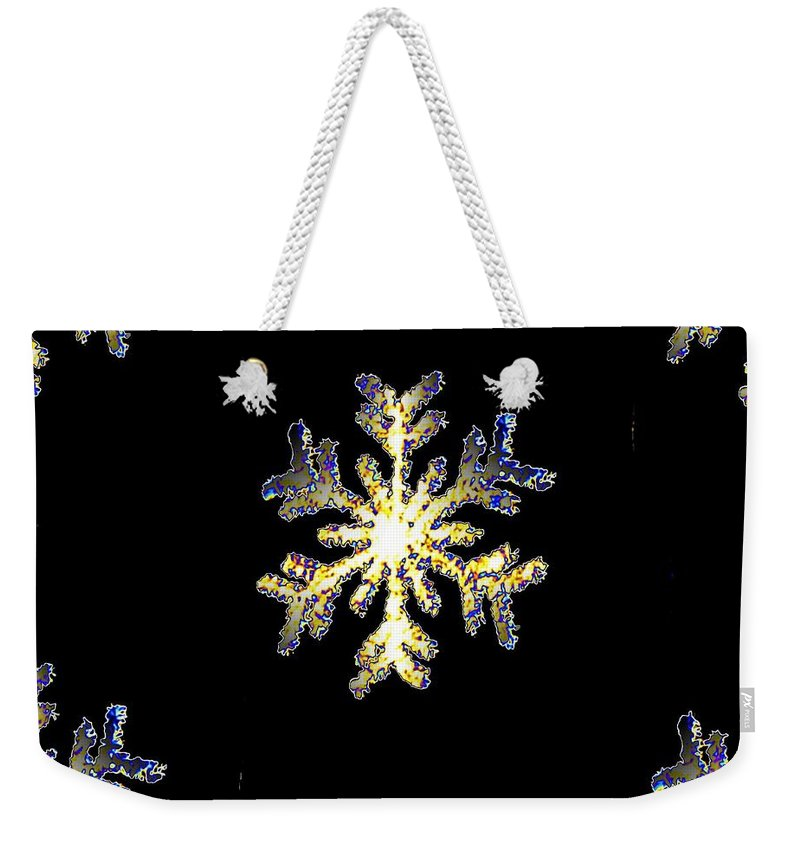 Snow Weekender Tote Bag featuring the photograph Snowflakes by Tim Allen