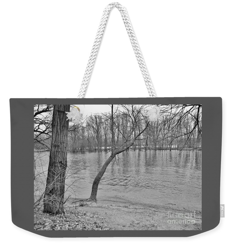 Black And White Weekender Tote Bag featuring the photograph Snowless Winter     Mishawaka  Indiana   St. Joe River by Rory Cubel