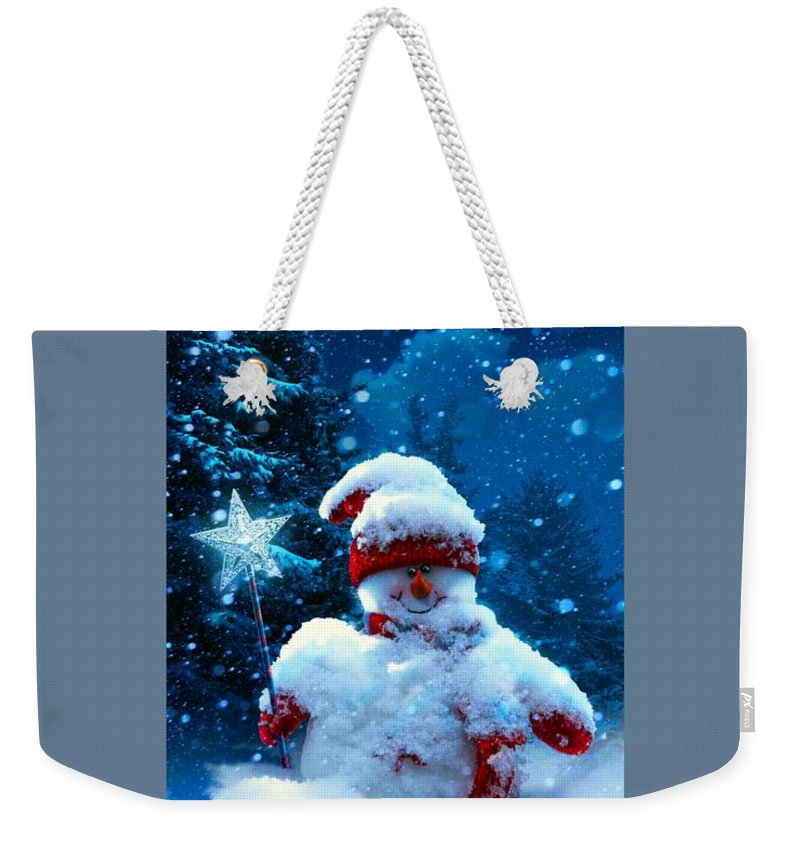 Religion Weekender Tote Bag featuring the digital art Snowman by Frederick Holiday