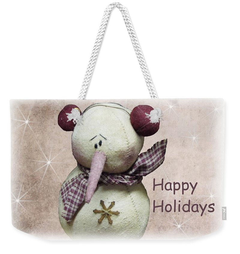 Snowman Weekender Tote Bag featuring the photograph Snowman Greeting Card by David Dehner