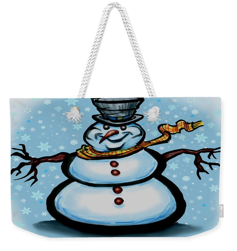 Snowman Weekender Tote Bag featuring the greeting card Snowman by Kevin Middleton