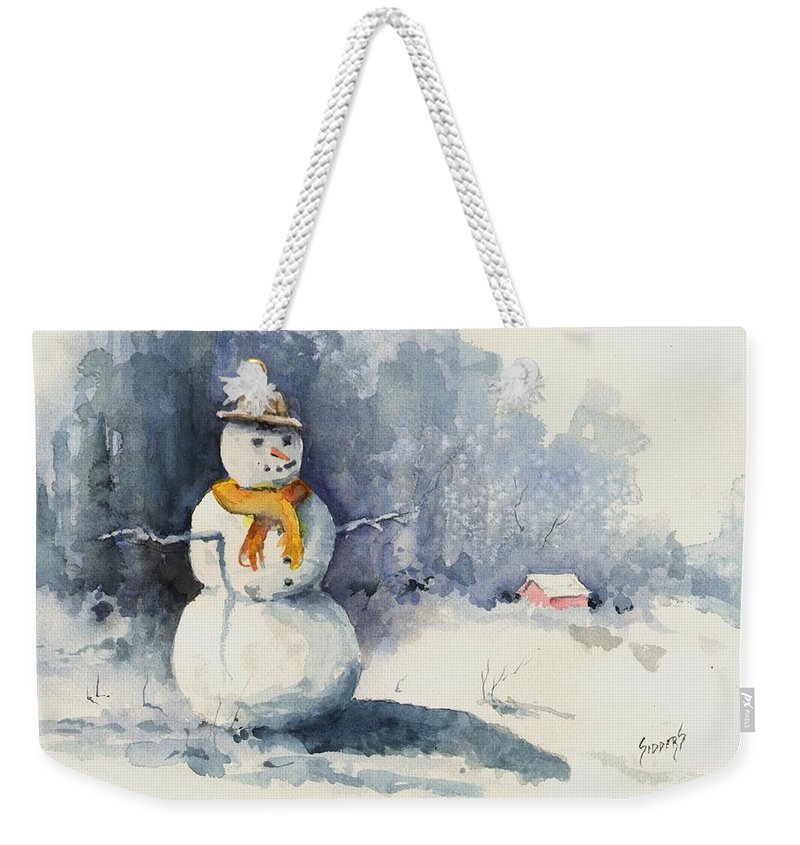 Snow Weekender Tote Bag featuring the painting Snowman by Sam Sidders