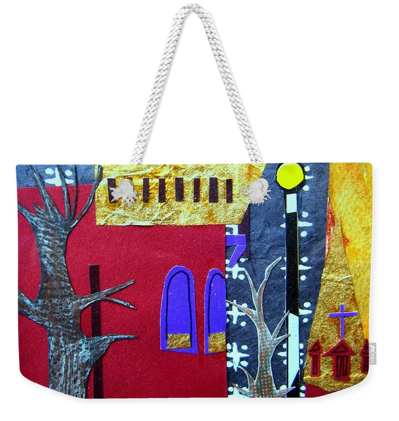 City Weekender Tote Bag featuring the mixed media Snowstorm Backbay by Debra Bretton Robinson