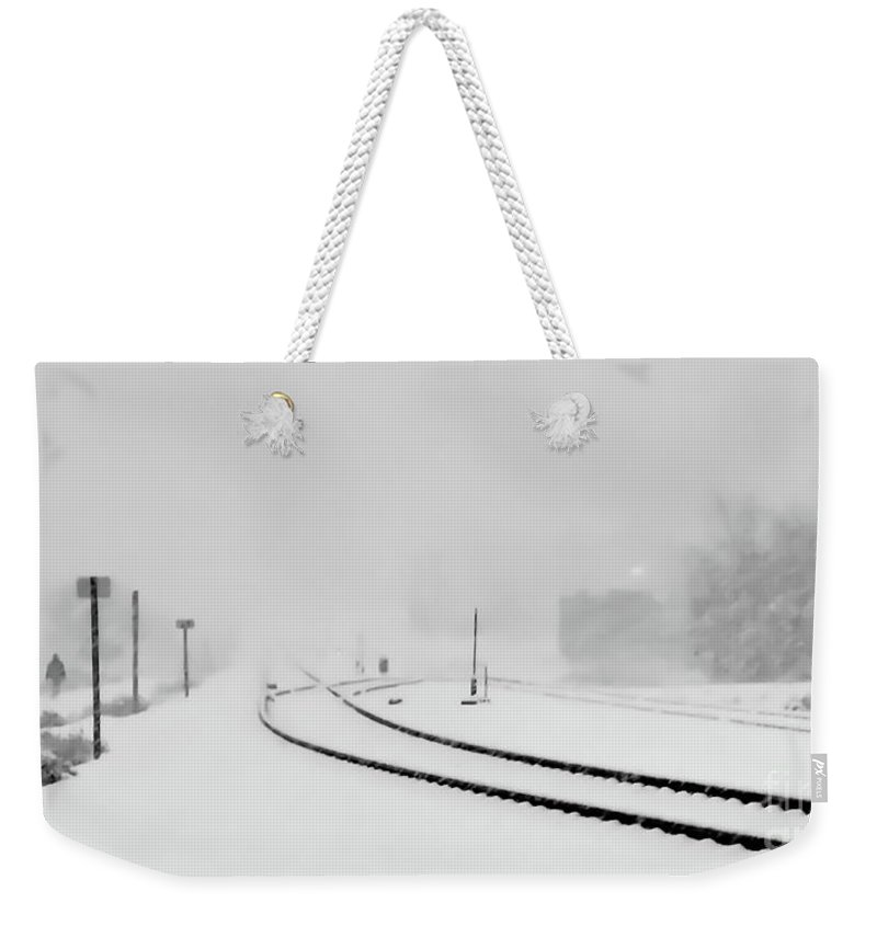 Digital Black And White Photo Weekender Tote Bag featuring the photograph Snowstorm In The Yard Bw by Tim Richards