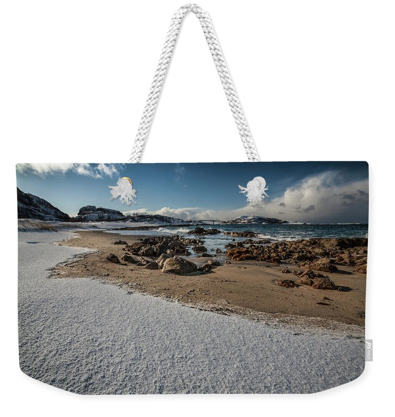 Norway Weekender Tote Bag featuring the photograph Snowy Beach by Sebastian Worm