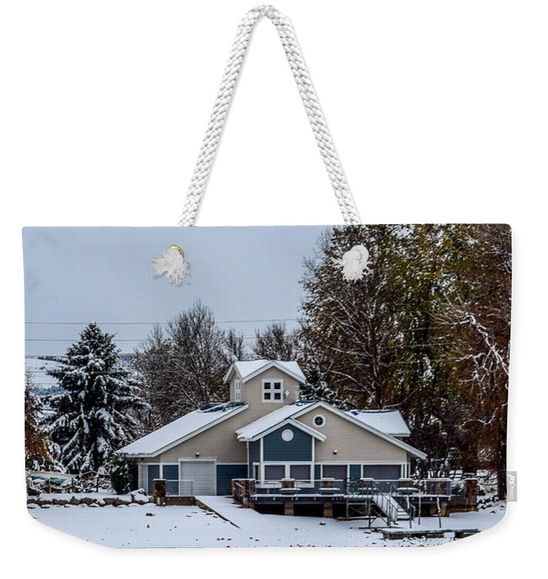 Boathouse Weekender Tote Bag featuring the photograph Snowy Boat House by Michael Putthoff