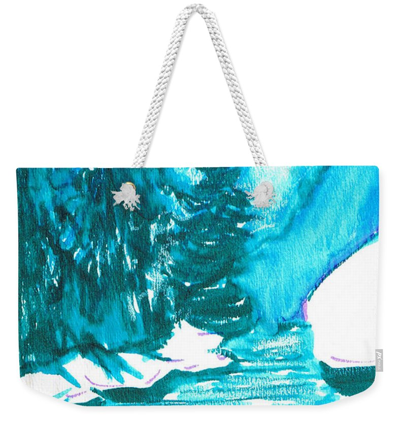 Chilling Weekender Tote Bag featuring the mixed media Snowy Creek Banks by Seth Weaver