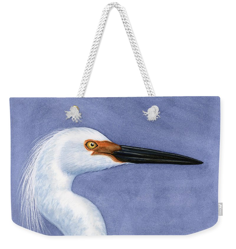 Snowy Weekender Tote Bag featuring the painting Snowy Egret Portrait by Charles Harden