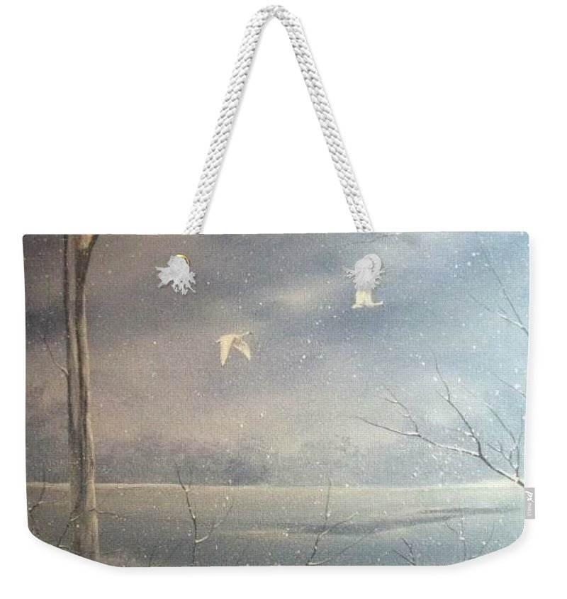 Birds / Landscape Weekender Tote Bag featuring the painting Snowy Flight by Glen Mcclements