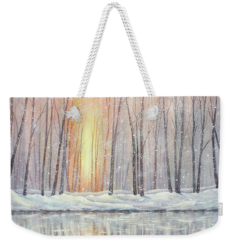 Landscape Weekender Tote Bag featuring the painting Snowy Glow by Paul Henderson
