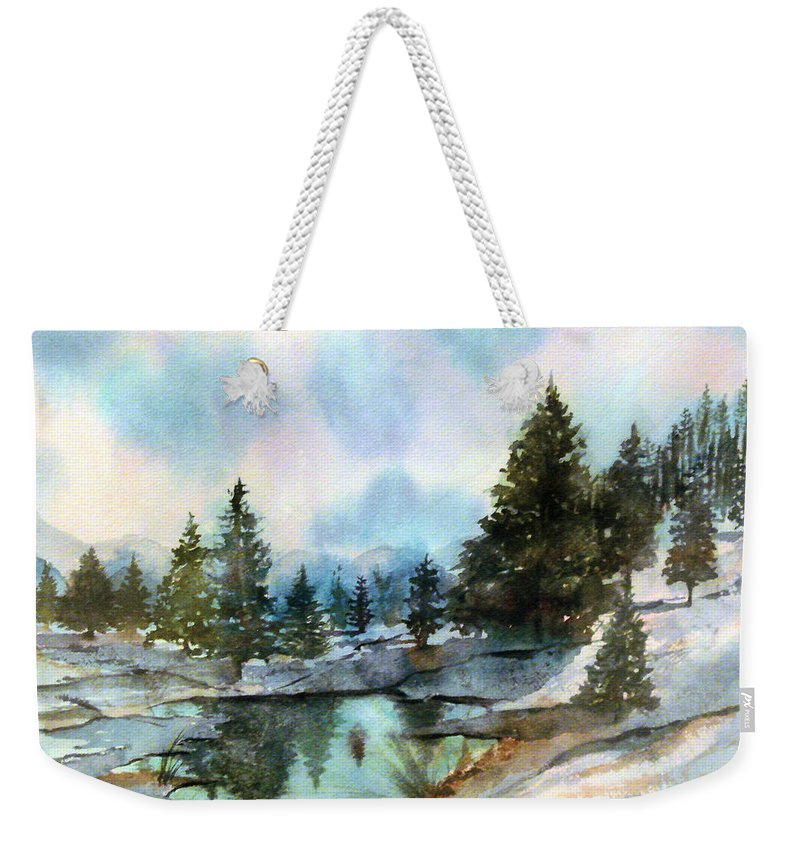 Watercolor Weekender Tote Bag featuring the painting Snowy Lake Reflections by Debbie Lewis