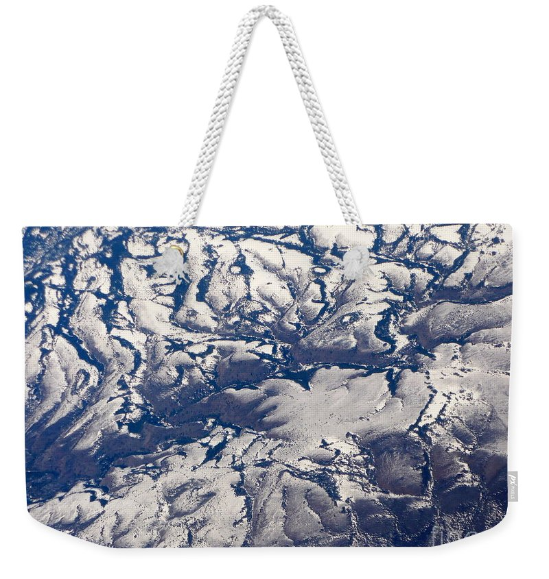 Aerial Weekender Tote Bag featuring the photograph Snowy Landscape Aerial by Carol Groenen