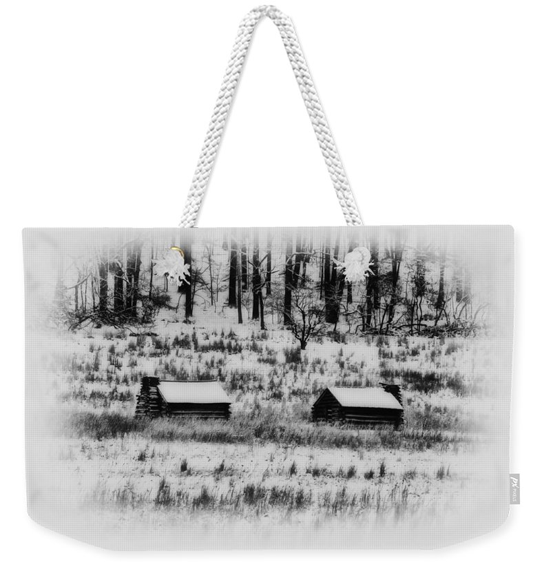 Log Weekender Tote Bag featuring the photograph Snowy Log Cabins At Valley Forge by Bill Cannon