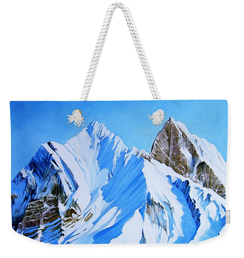 Snow Weekender Tote Bag featuring the painting Snowy Mountain by Juan Alcantara
