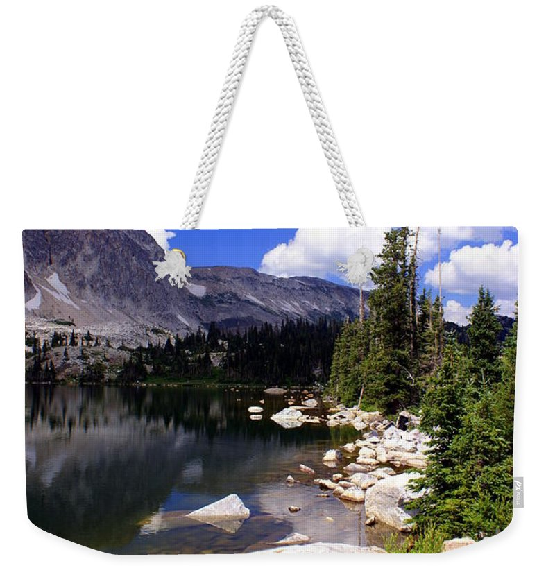 Snowy Mountains Weekender Tote Bag featuring the photograph Snowy Mountain Lake by Marty Koch