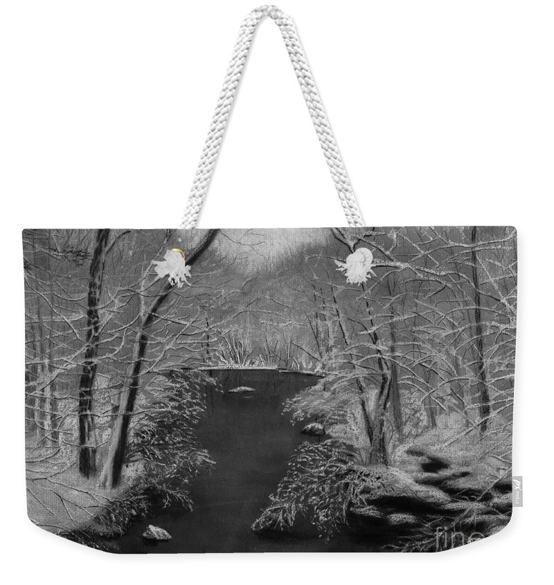 Black And White Weekender Tote Bag featuring the painting Snowy River by Lynn Quinn