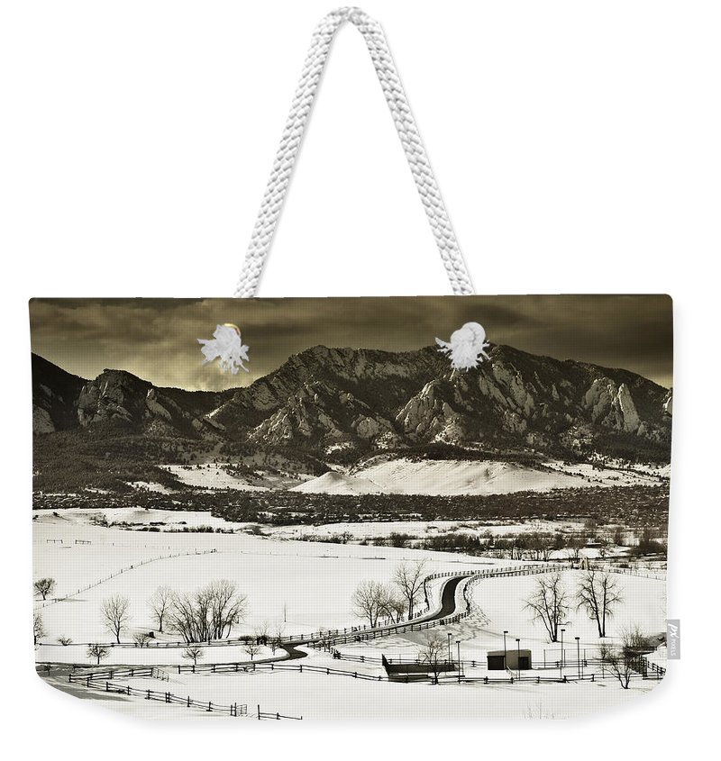 Boulder Weekender Tote Bag featuring the photograph Snowy Sunset by Marilyn Hunt