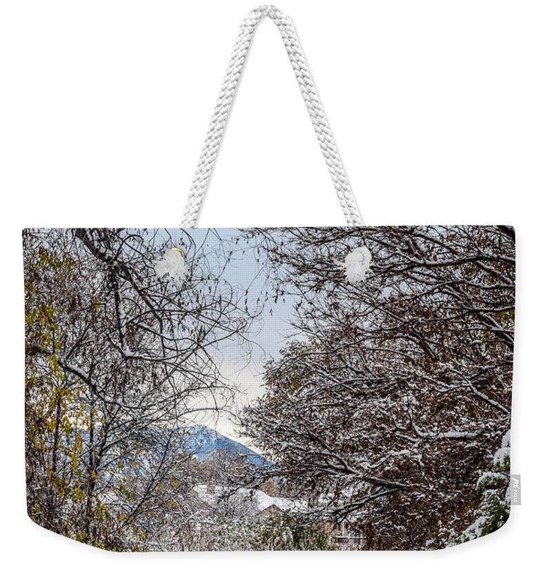 Trail Weekender Tote Bag featuring the photograph Snowy Trail by Michael Putthoff