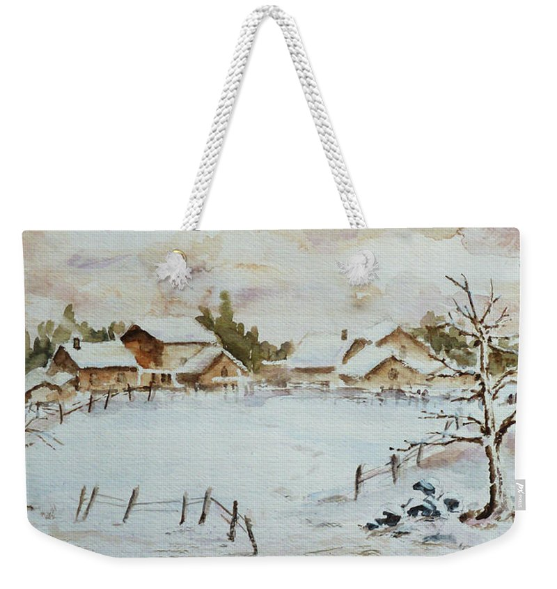 Winter Weekender Tote Bag featuring the painting Snowy Village by Xueling Zou