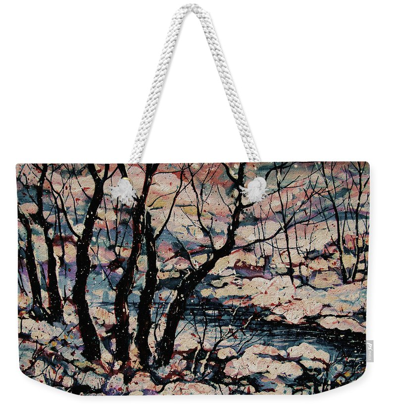 Natalie Holland Art Weekender Tote Bag featuring the painting Snowy Woods by Natalie Holland