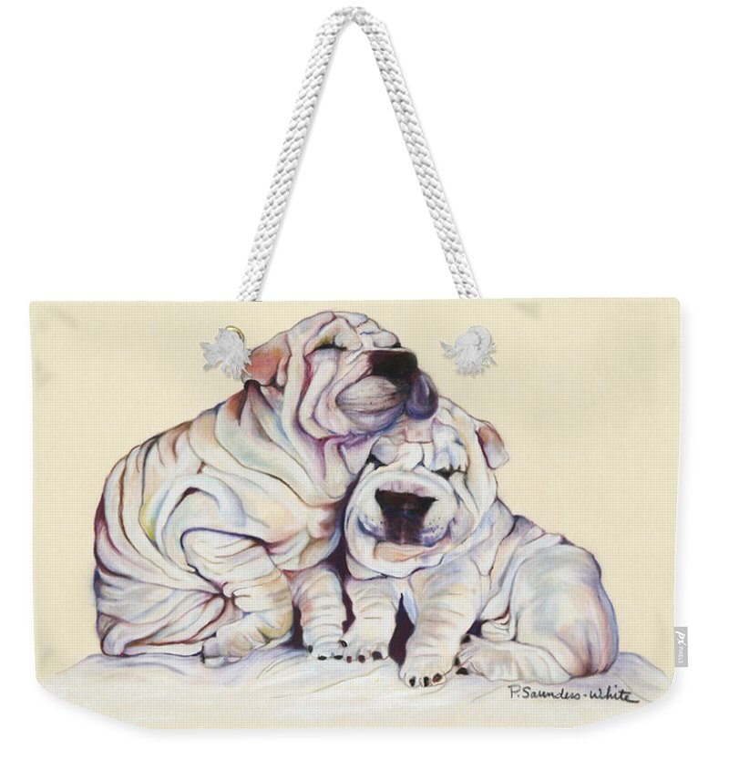 Dog Painting Weekender Tote Bag featuring the pastel Snuggles by Pat Saunders-White