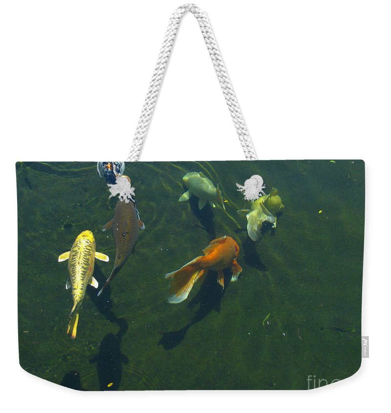 Patzer Weekender Tote Bag featuring the photograph So Koi by Greg Patzer