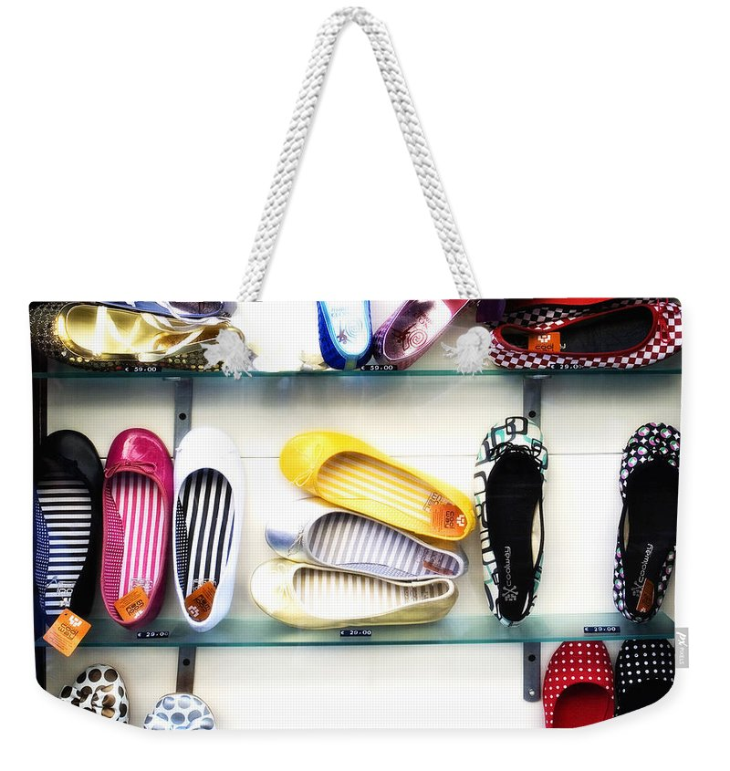 Shoes Weekender Tote Bag featuring the photograph So many shoes... by Marilyn Hunt