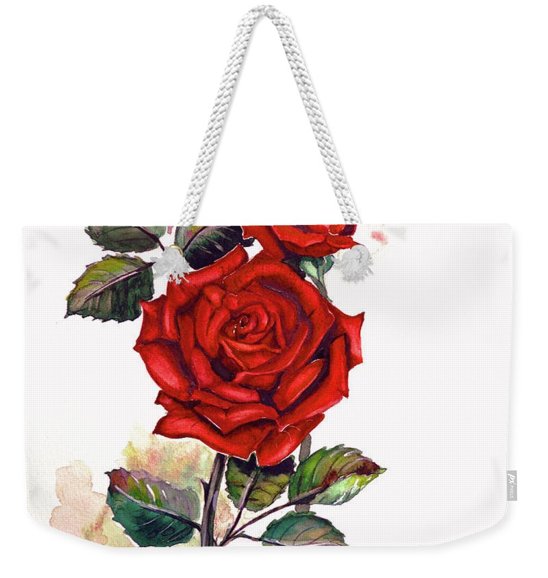 Red Rose Paintings Weekender Tote Bag featuring the painting So Red by Karin Dawn Kelshall- Best
