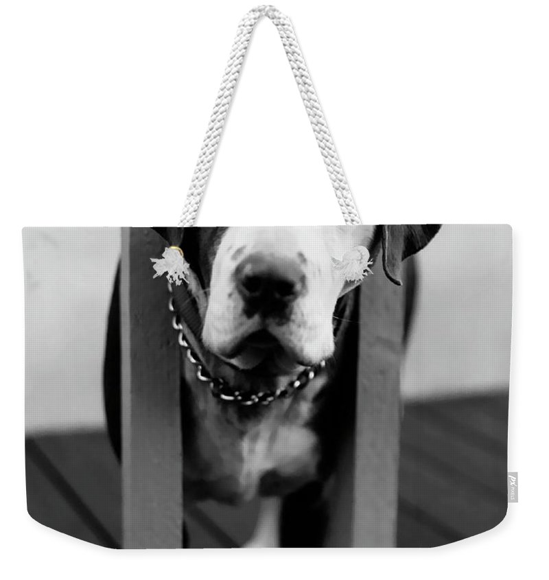 Black And White Weekender Tote Bag featuring the photograph So Sad by Peter Piatt
