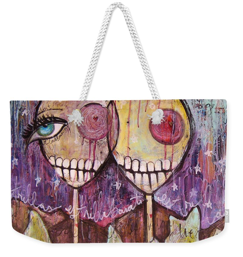 Skulls Weekender Tote Bag featuring the painting So This Is The New Year Estrellas And All by Laurie Maves ART