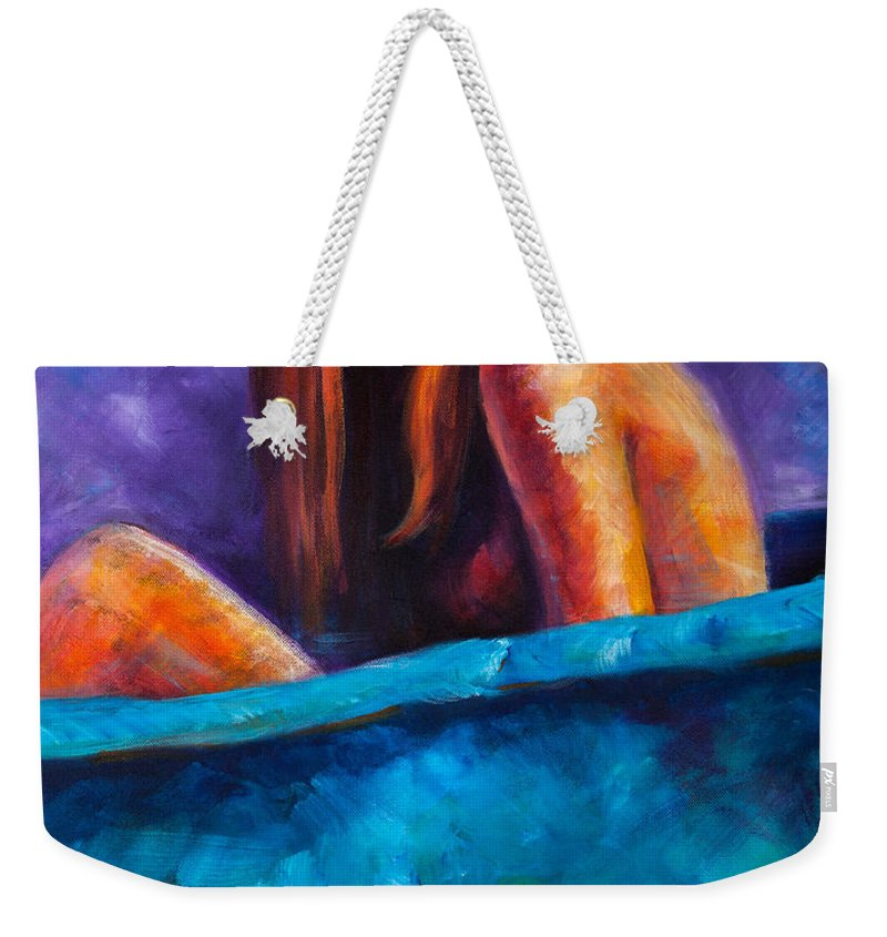 Nude Weekender Tote Bag featuring the painting Soak by Jason Reinhardt