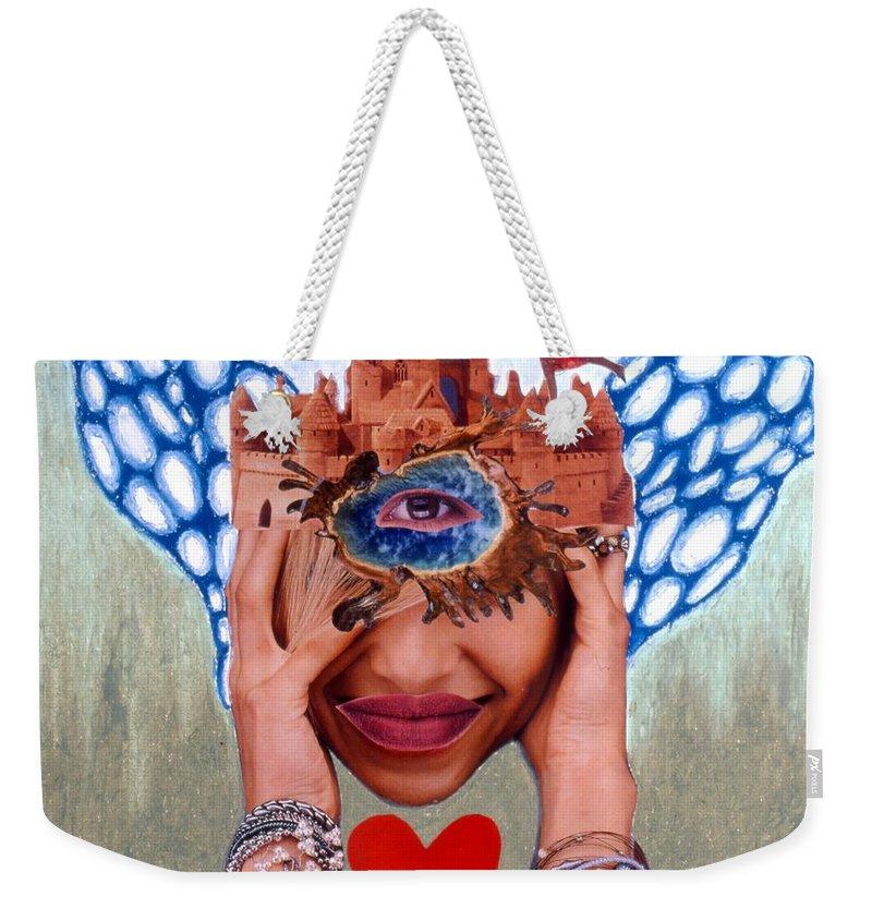 Sandcastle Weekender Tote Bag featuring the drawing Soap Scene # 12 Sandcastle Shrine by Minaz Jantz