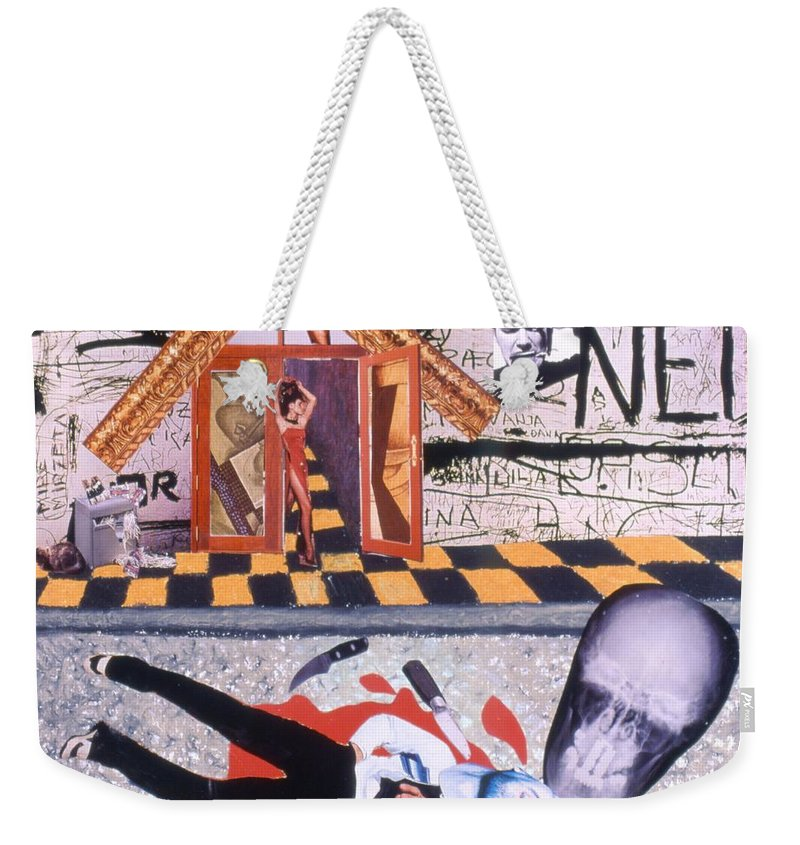 Murder Weekender Tote Bag featuring the drawing Soap Scene # 9 Med Ned Likes People Dead by Minaz Jantz