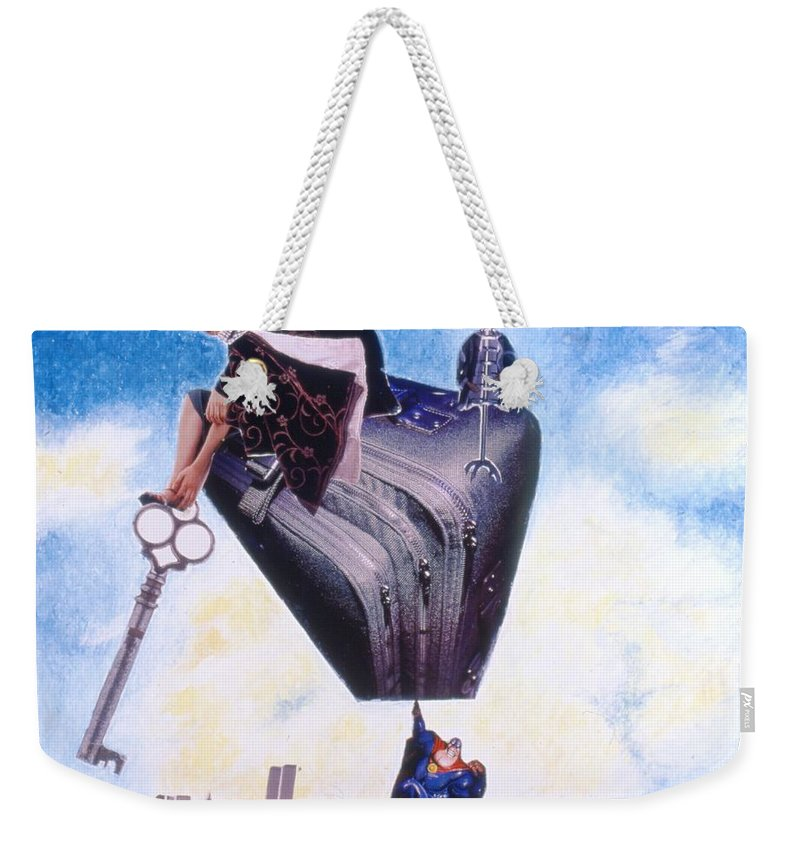 Twin Towers Weekender Tote Bag featuring the drawing Soap Scene #11 Seek The Love Within by Minaz Jantz