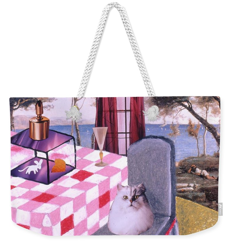 Cat Weekender Tote Bag featuring the drawing Soap Scene #14 Mouse In A Cage by Minaz Jantz